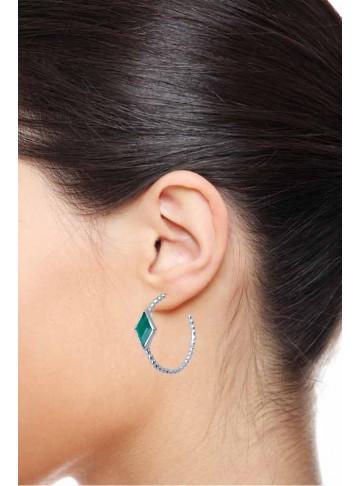 Stars of Green Silver Bali Earrings