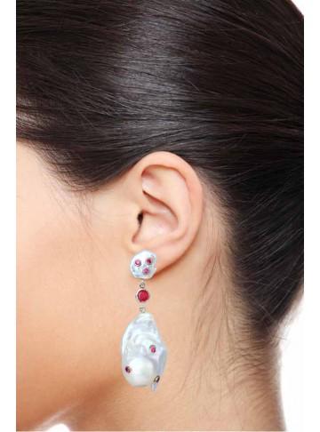Shell Pearl Stud Ruby Drop Earrings