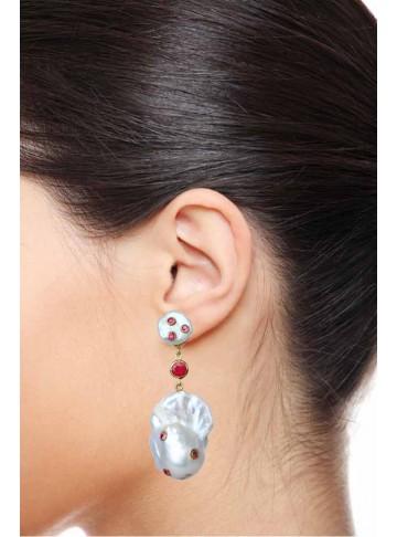 Golden Shell Pearl Stud Ruby Drop Earrings