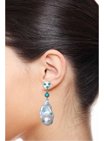 Shell Pearl Stud Turquoise Drop Earrings