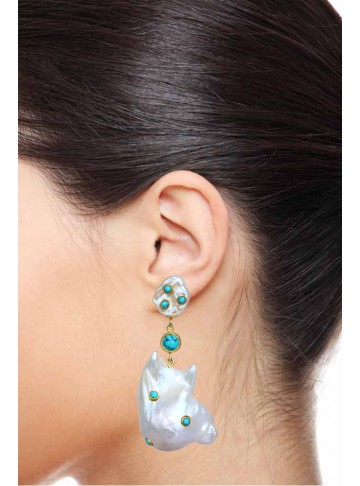 Golden Shell Pearl Stud Turquoise Drop Earrings