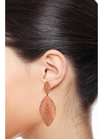 Lightweight Pink Gold Plated Dangle Leafy Earrings for Women and Girls