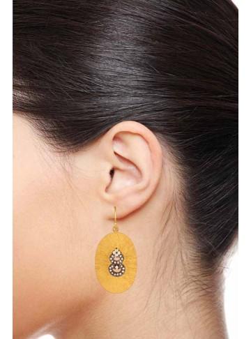 Shimmering Golden Oval Grand Drop Earrings
