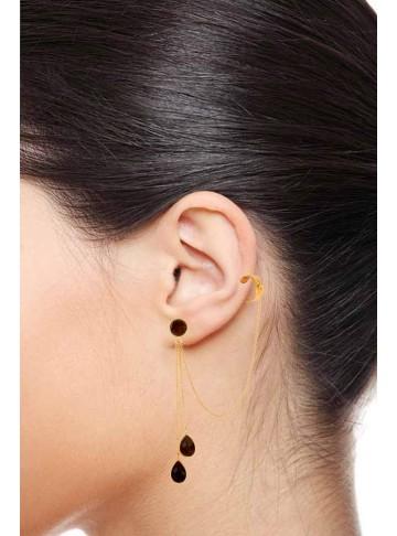 Alluring Smoky Topaz Ear cuff Danglers