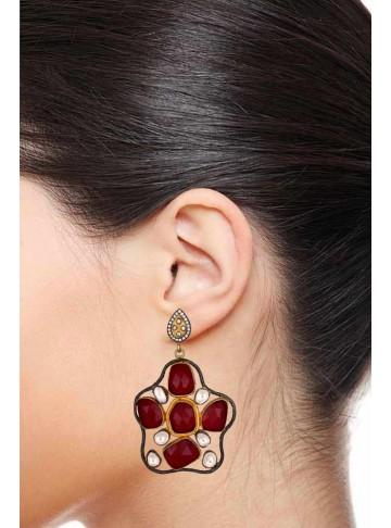Diwali Red Glass Charm Dangle Earrings