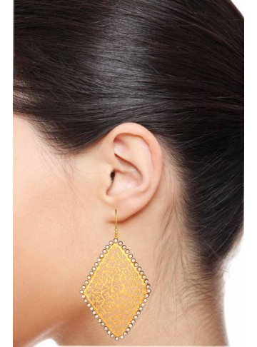 Long Gold Hoop Filigree Earrings