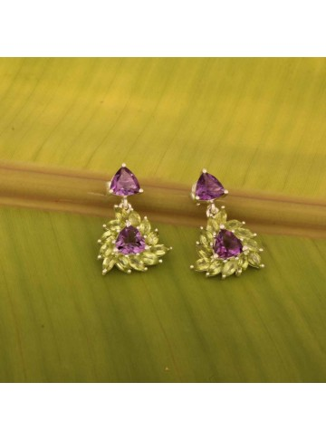 Indo Western Triangle Stone Earrings