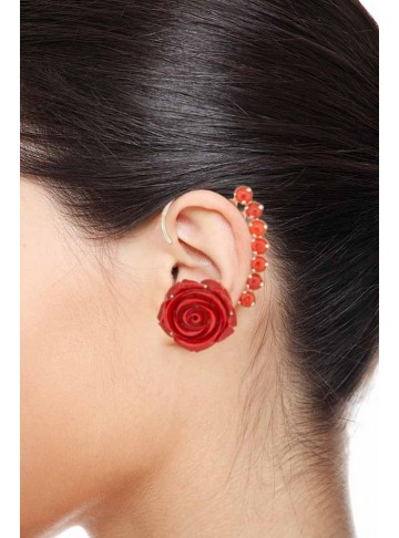 Antique Red Floral Coral Ear Cuff