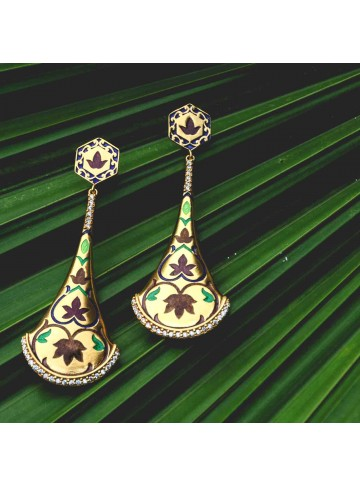 Dancing Temple Bell Enamel Drop Earrings